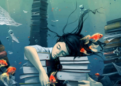 sleepy woman among books